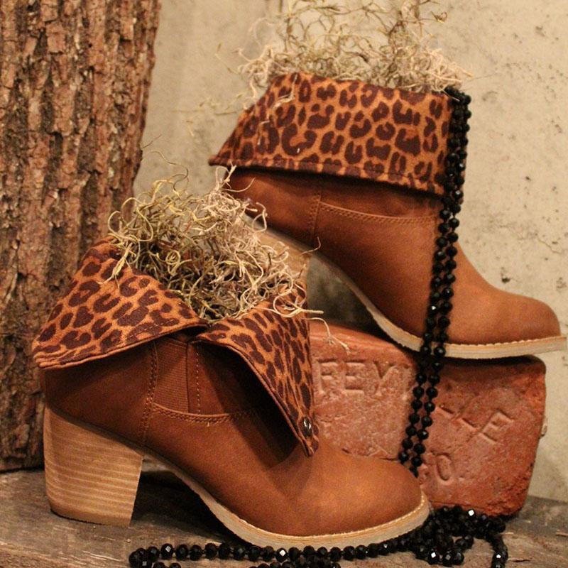 Leopard Brown Folding Boots Chunky Boots