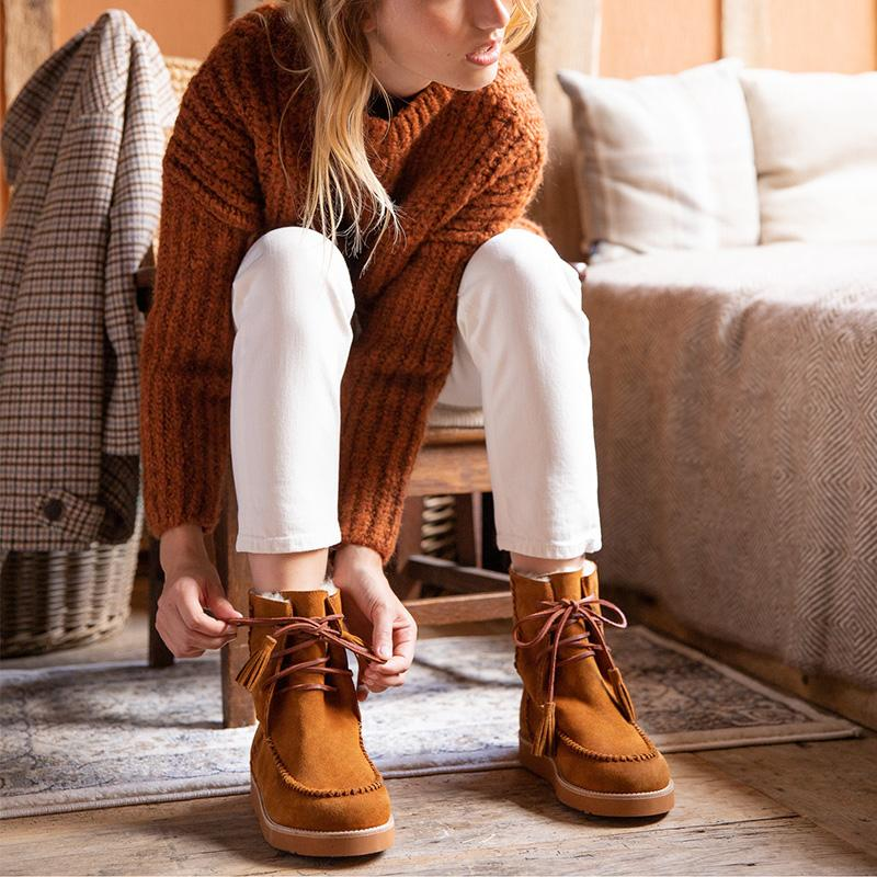 Winter Simple Mustard Lace-up Snow Boots