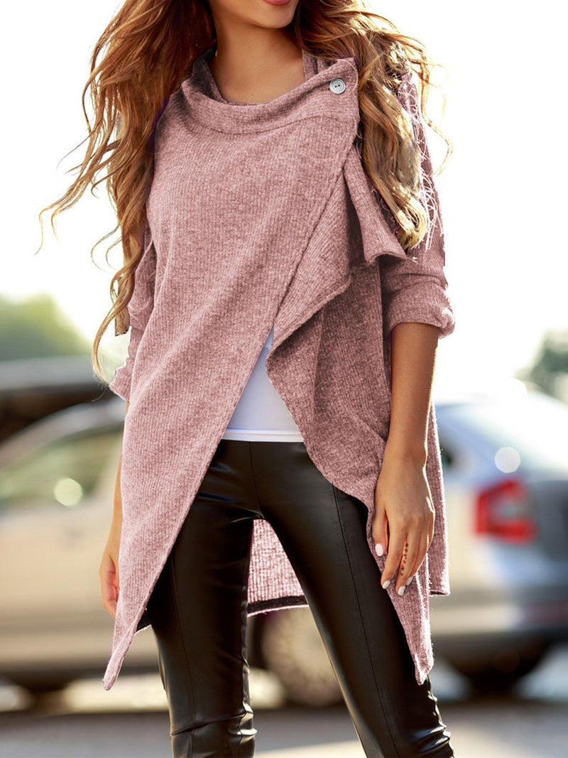 Surplice Slit Hem Asymmetric Long Sweater