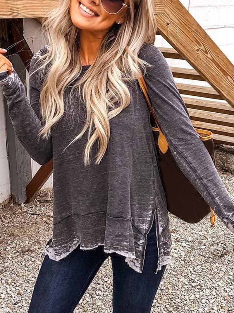 Plus Size Round Neck Distressed Solid Slit Hem T-Shirt