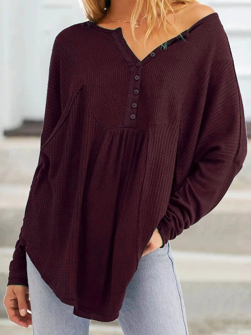 Plus Size Buttoned V Neck Gathering Paneled Loose Blouse