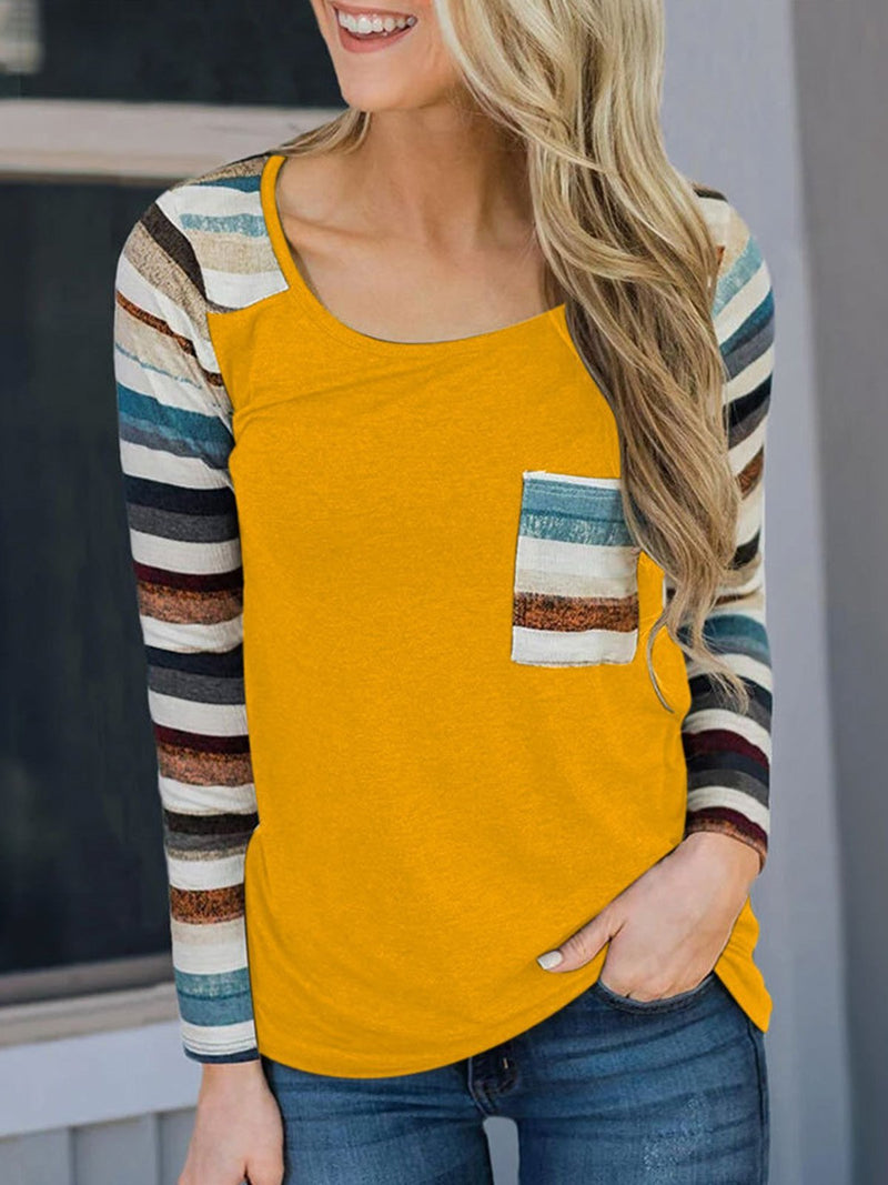 Striped Print Long Sleeve Top