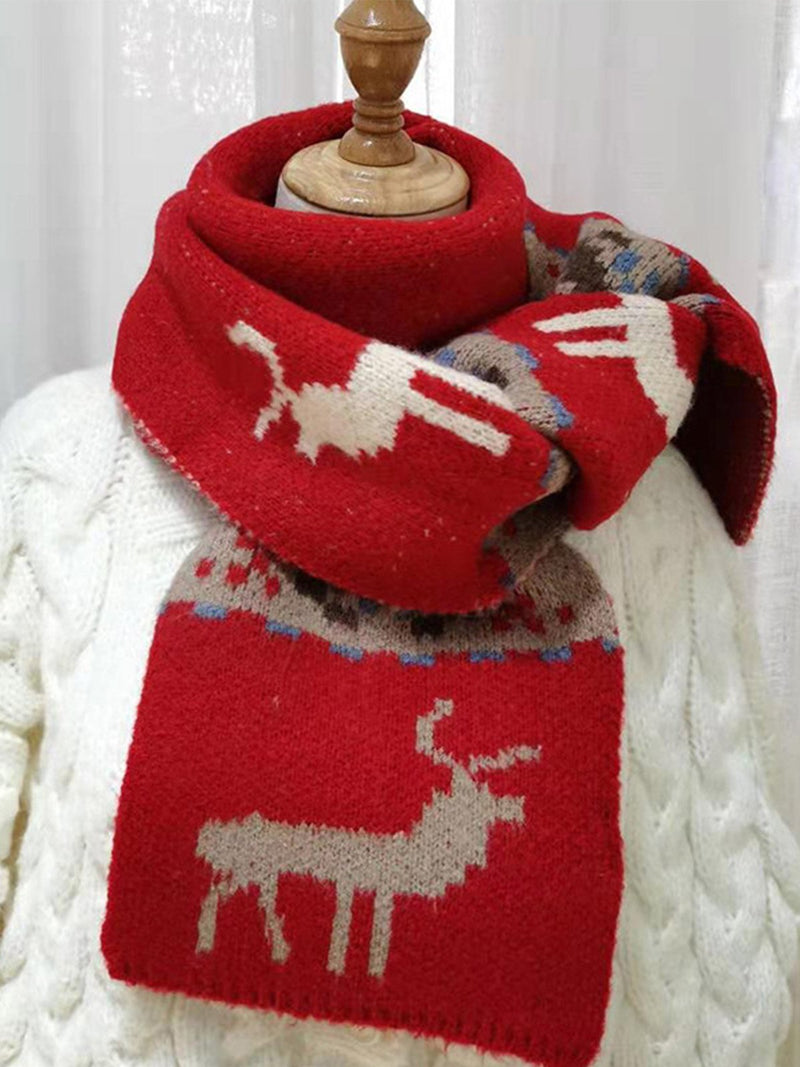 Elk Print Thickened Knitted Wild Scarf