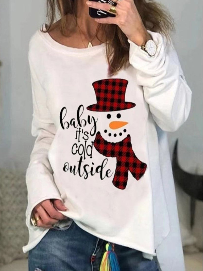 Christmas Snowman & Letter Print Round Neck Long Sleeve Top