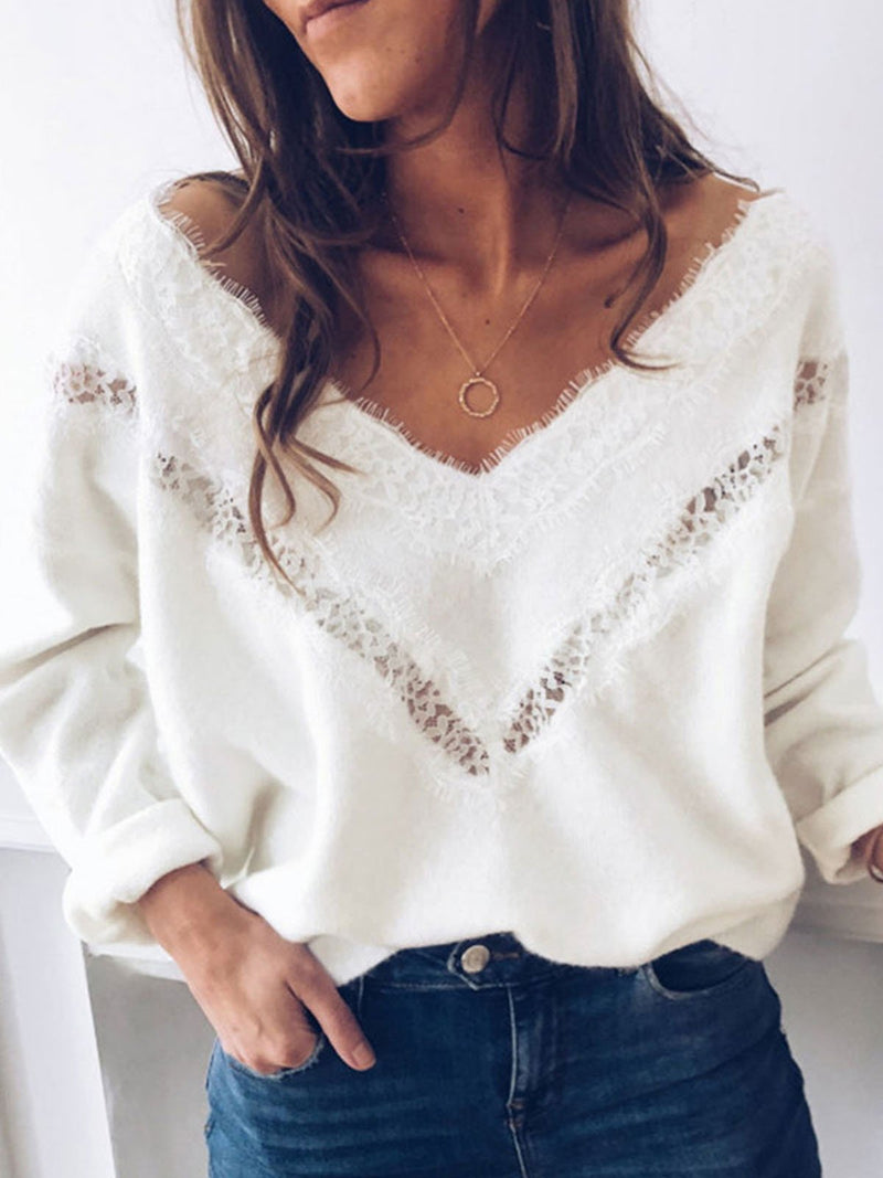 Solid Long-sleeved Wide Top with V-neckline