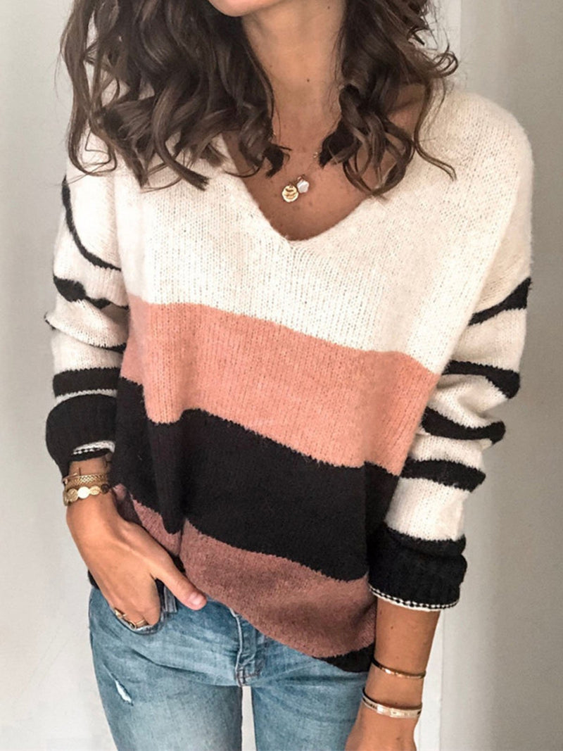 Loose Color Block V-Neck Knit Sweater