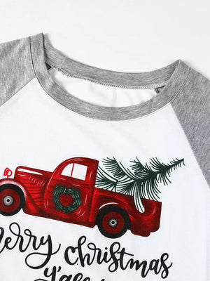 Cartoon Truck Print Crew Neck T-Shirt