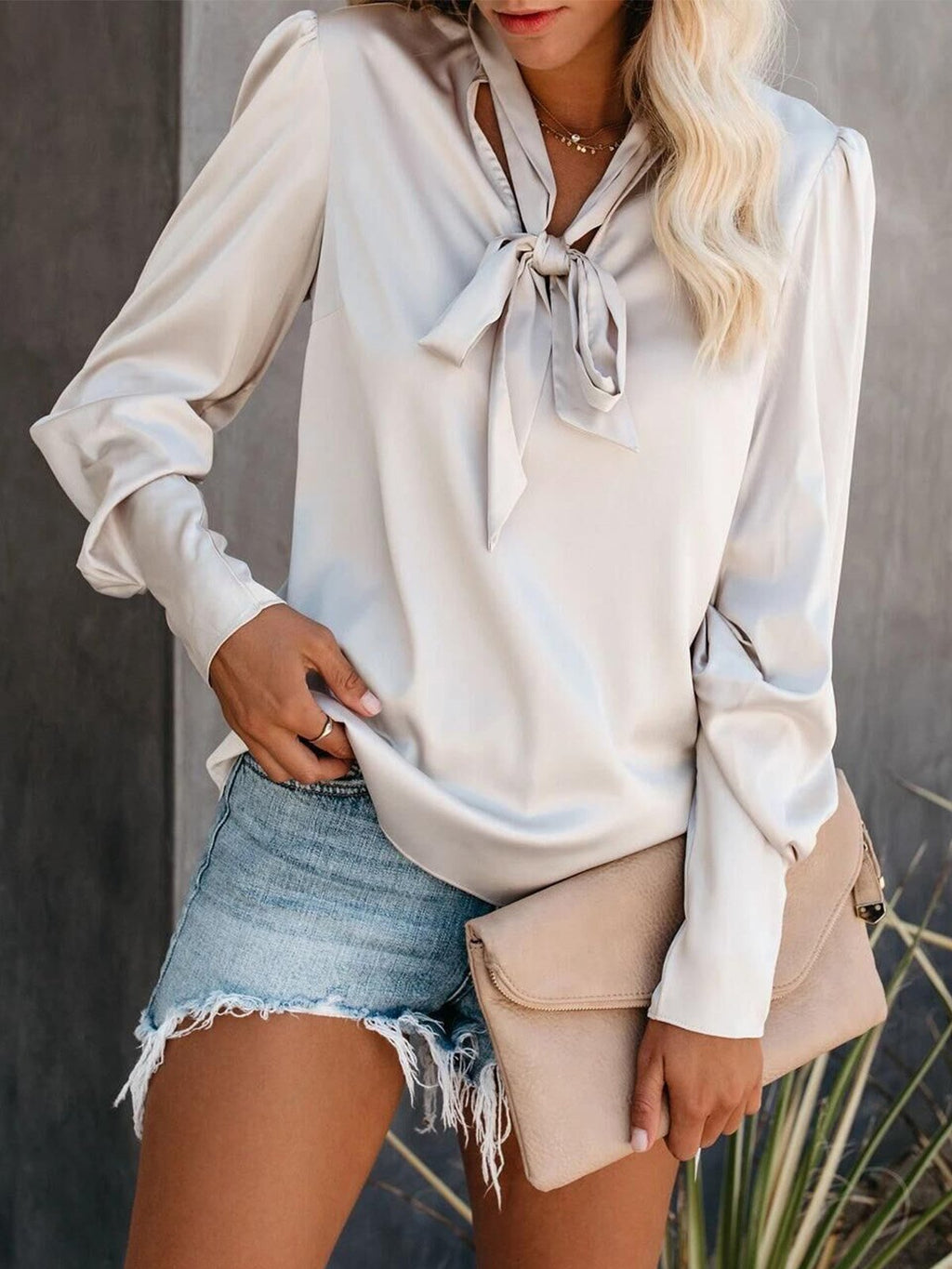 Loose Solid Color Long Sleeve Shirt