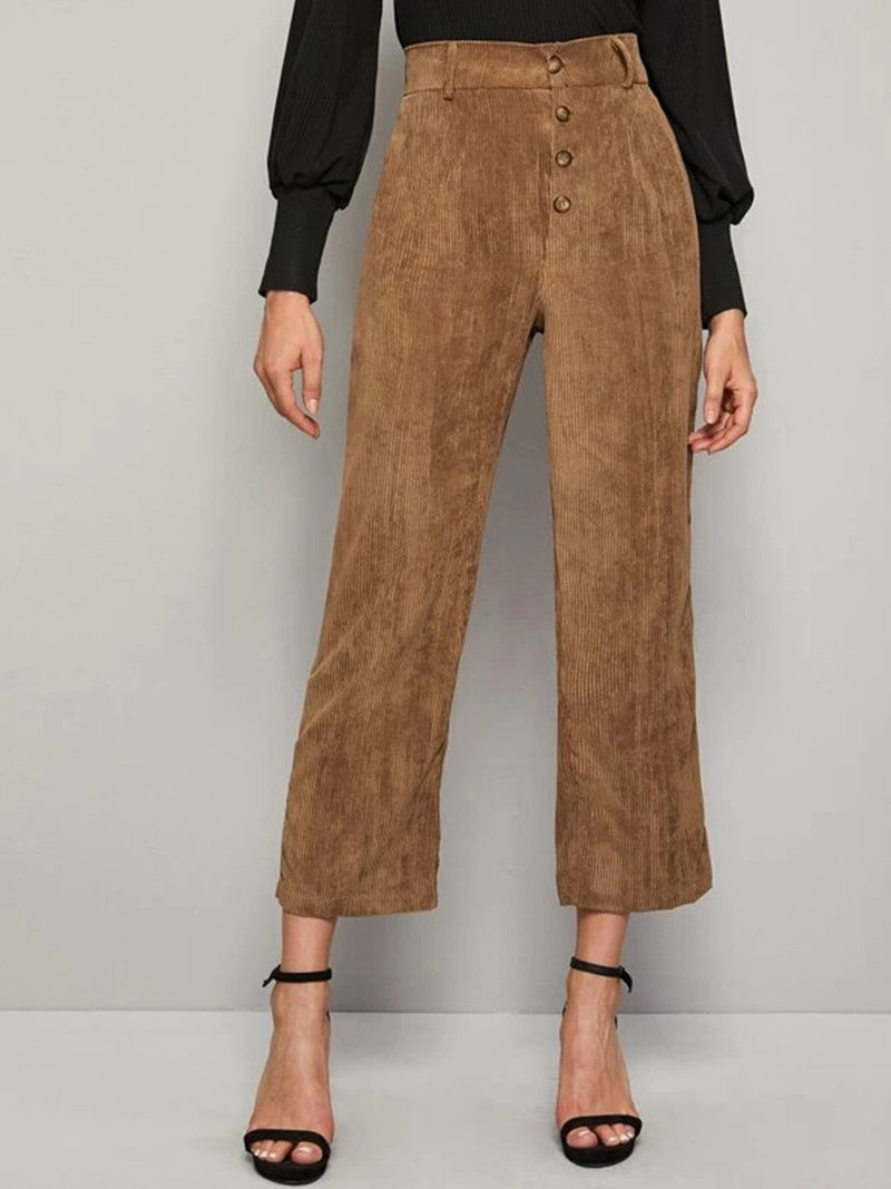 Khaki Cord Plain Color Pants