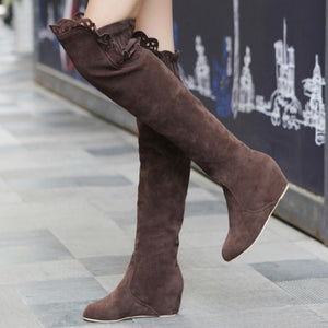 Ruched Wedge Heel Elactics Band Boots