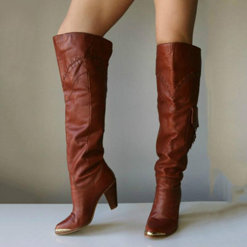 Vintage Chunky-heel Thigh-high Boots