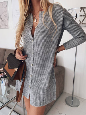 Sexy Solid Button-Down Sweater Knit Cardigan