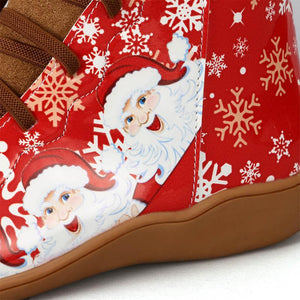 Xmas Style Santa Print Ankle Boots