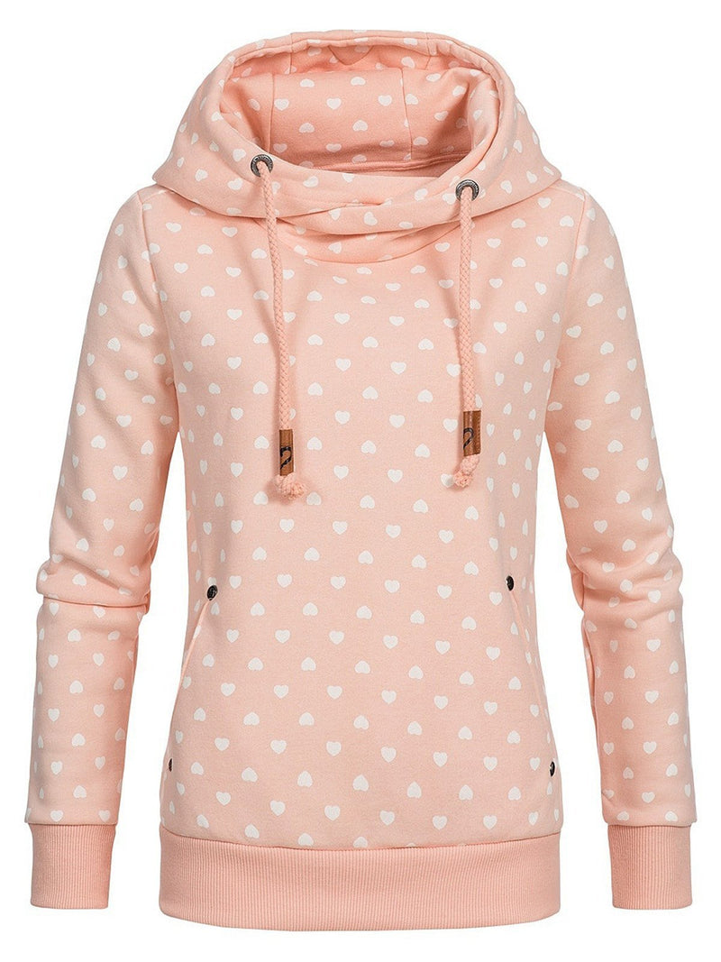 Long Sleeves Love Print Loose Hoodies
