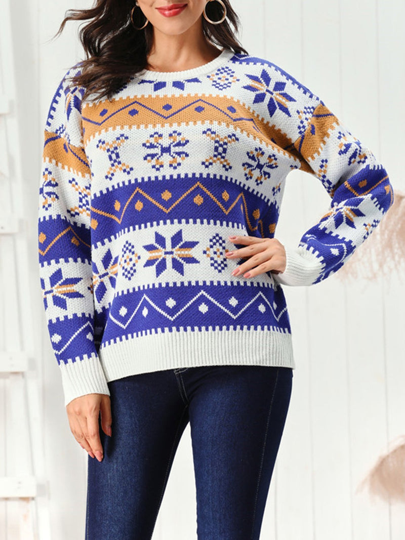 Loose Casual Long Sleeve Geometric Pattern Sweater