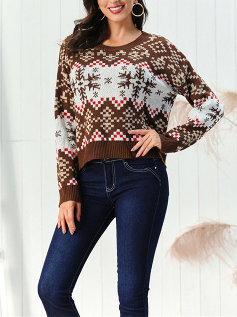 Christmas Turtleneck Snowflake Pattern Sweater
