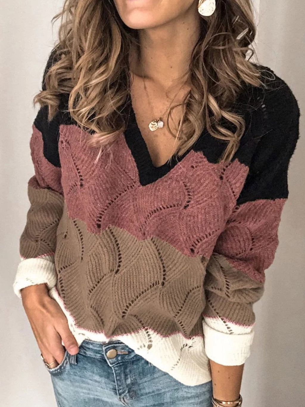 Casual Loose Multi-Colored Knit Sweater