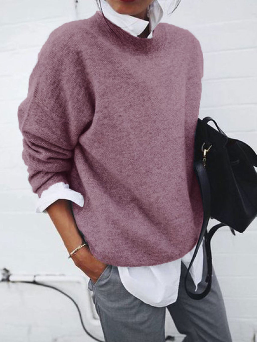 Plus Size Round Neck Sweater With Fake Long-Sleeved Shirt