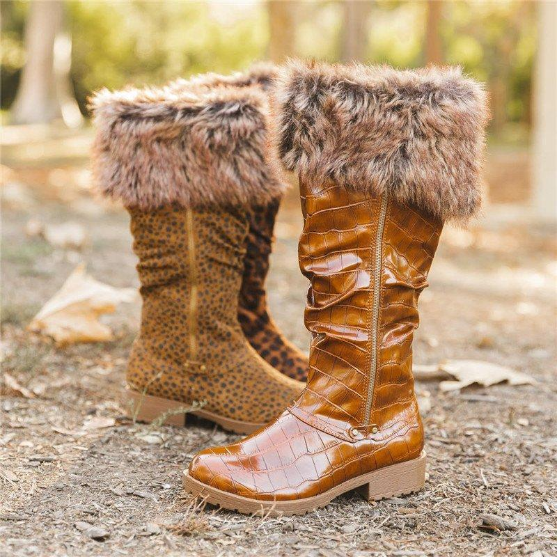 Women's Chic Leopard Low Heel Winter Boots