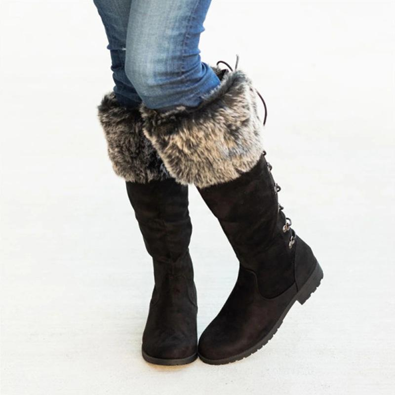 Casual F/W Low Heel Lace Up Warm Boots