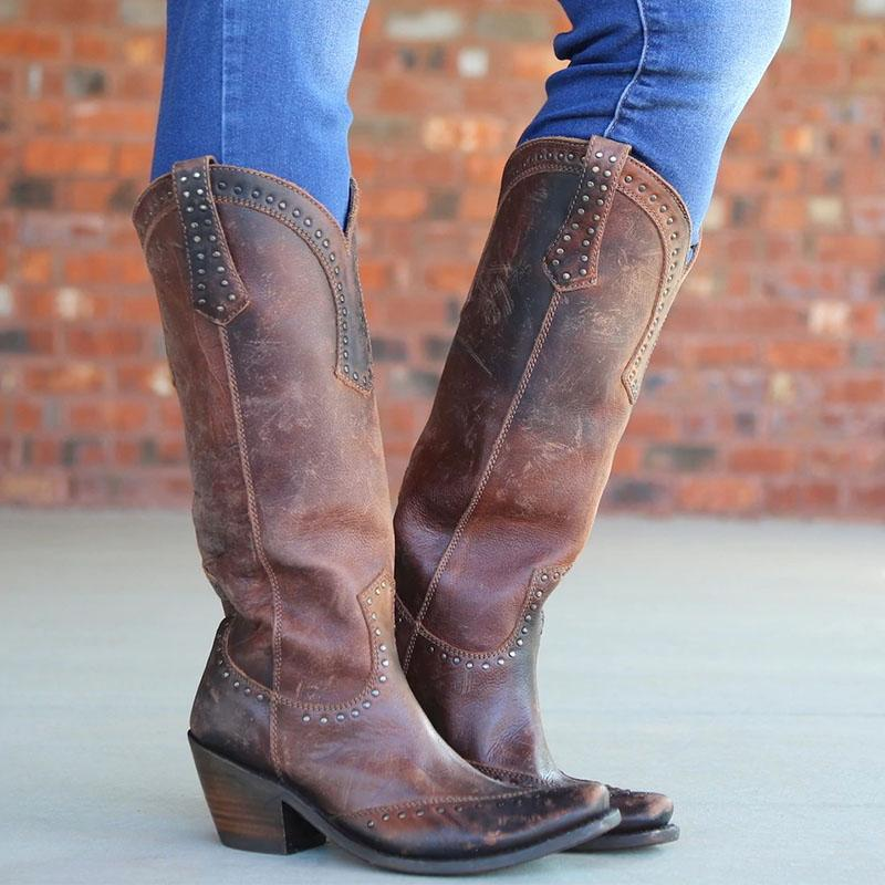 Vintage Chunky Heel Cowgirl Style Boots