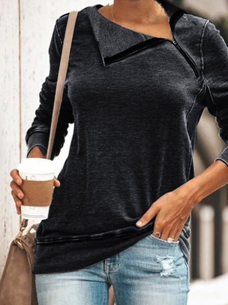 Plus Size Solid Knit Asymmetric Zipper Neckline Long-Sleeved T-Shirt
