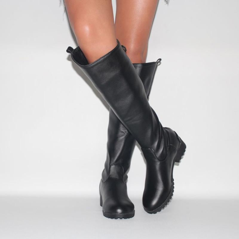 Solid Black Sole PU Low-heel Boots Knee Boots