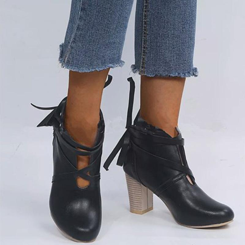 Elegant Lace-up Chunky High-heel Boots