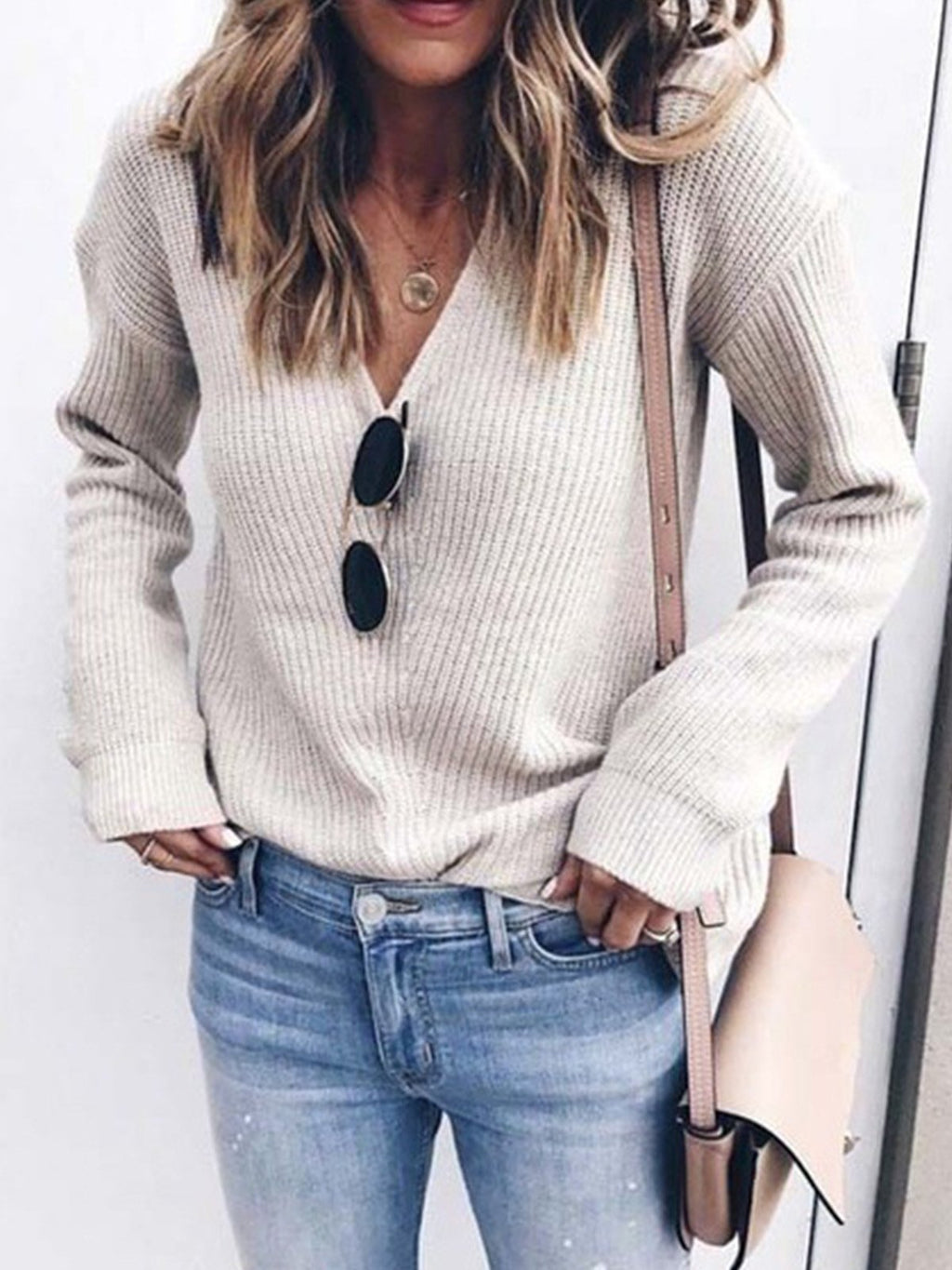 Plus Size V Neck Solid Sweater Knit Top