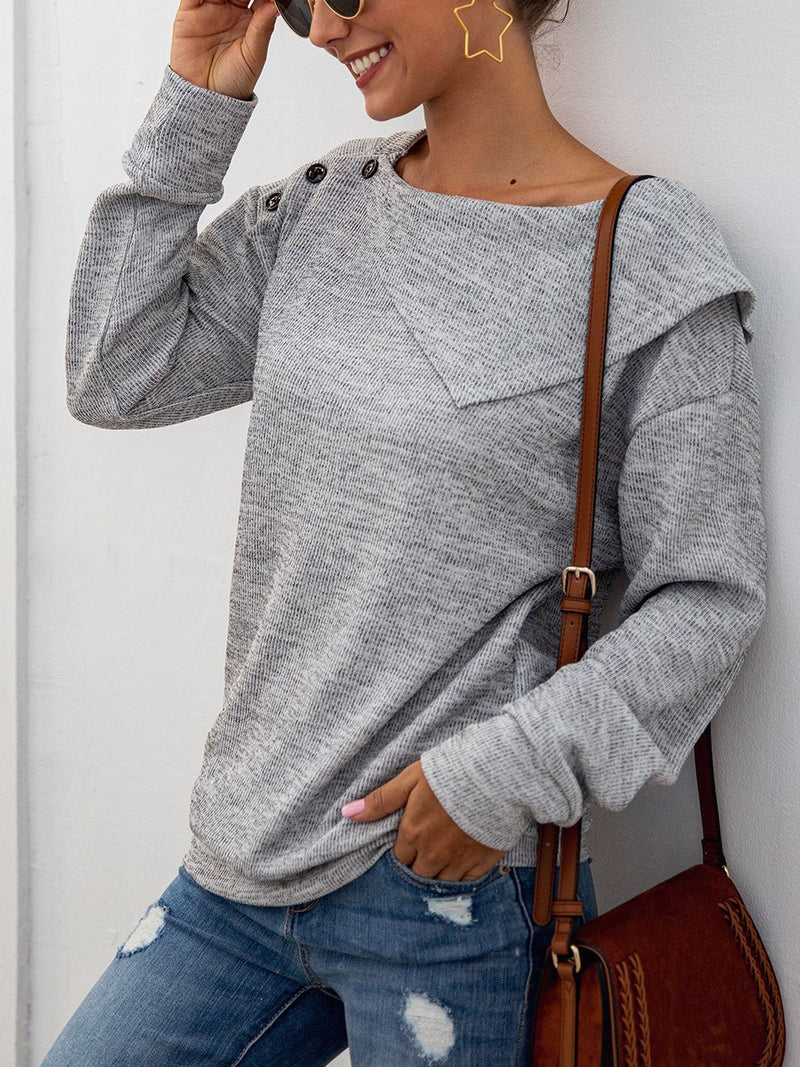 Asymmetric Turndown Collar Buttoned Solid Knit Blouse