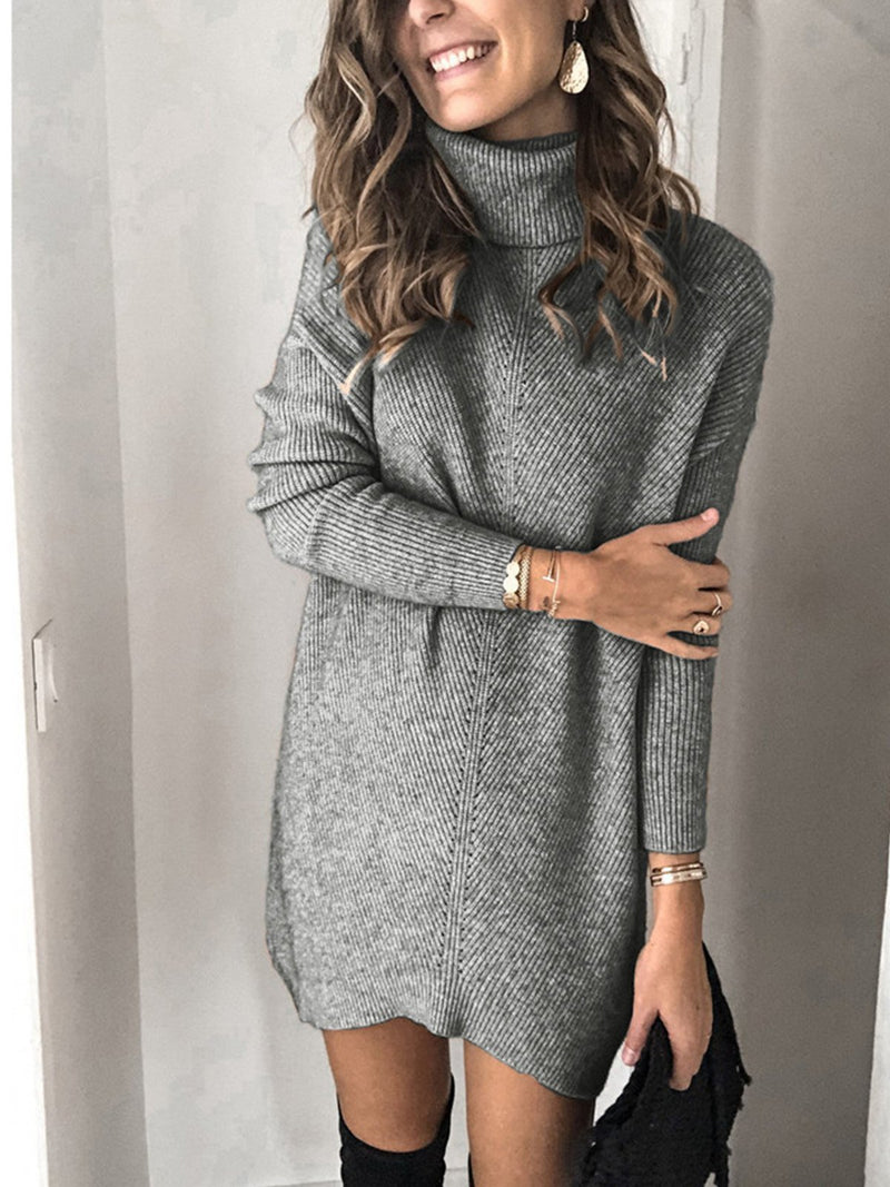 Turtleneck Long-sleeved Medium-length Knitted Dress