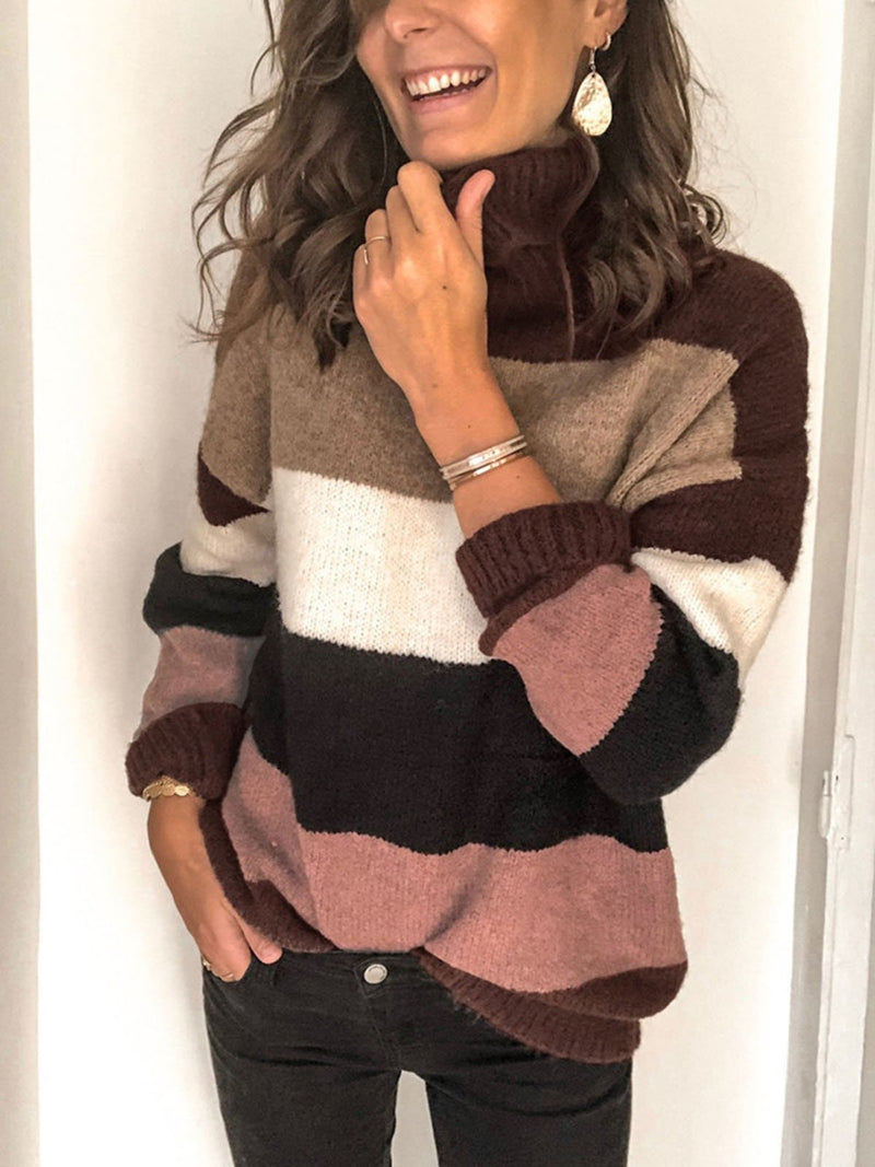 Multicolor Striped Turtleneck Long Sleeve Sweater