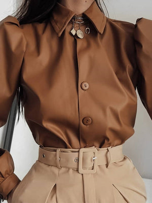 Faux Leather Puff Sleeve Tops