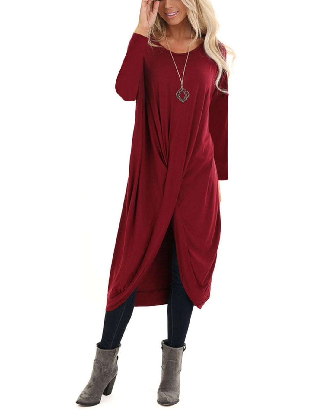Asymmetric Twist Hem Solid Long-Sleeved Loose Dress