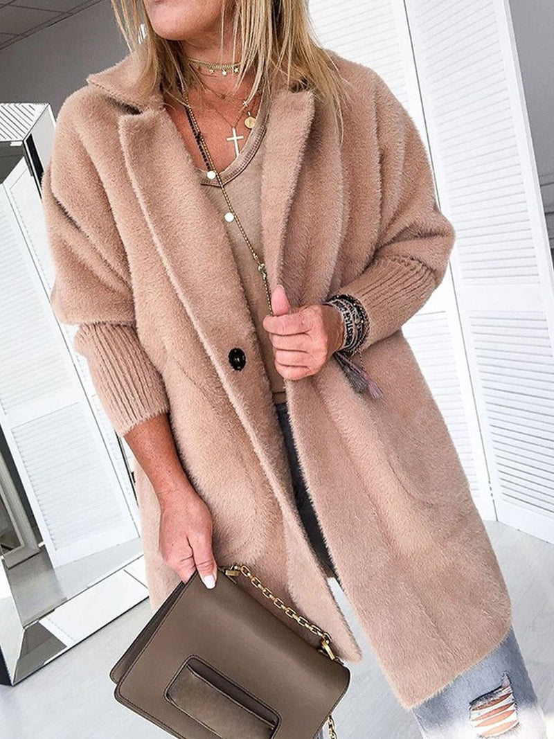 Fluffy Solid Autumn/Winter Lapel Collar Long Coat
