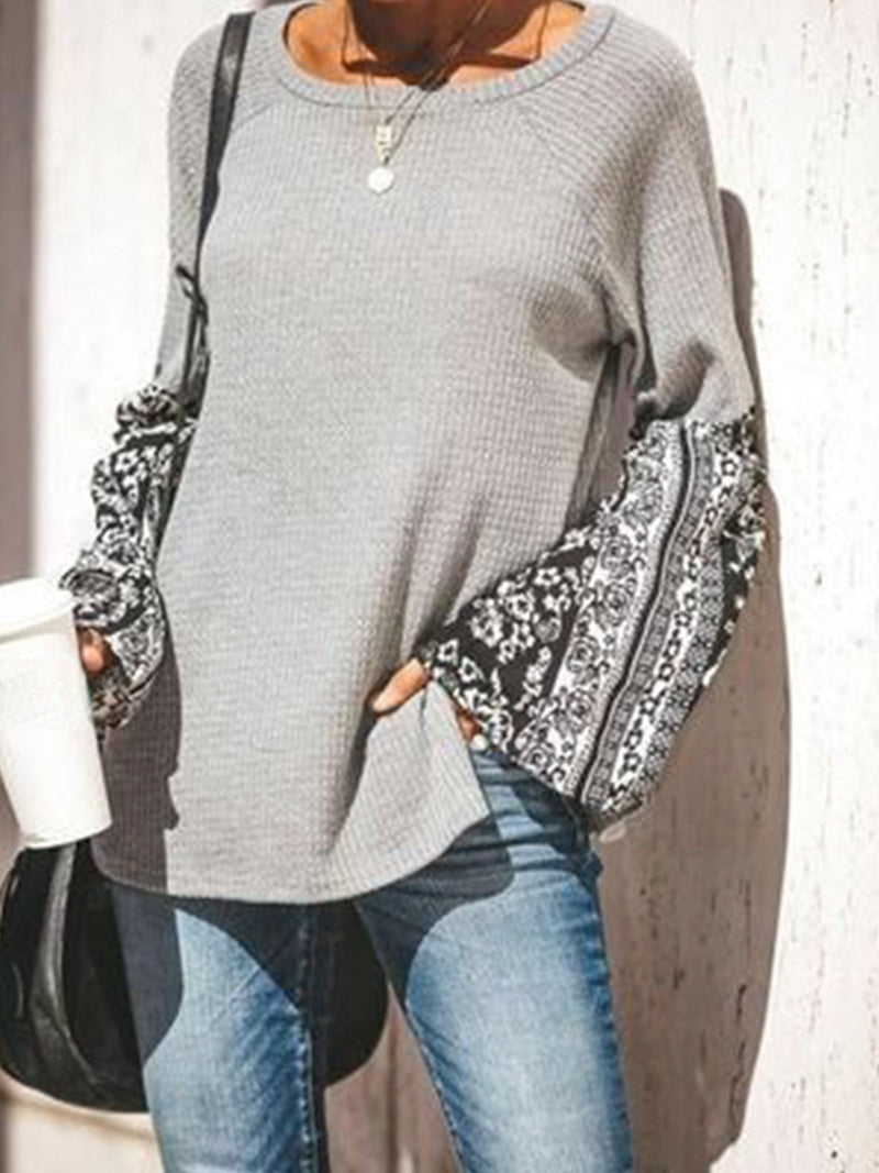 Paneled Crew Neck Shift Long Sleeve Sweater