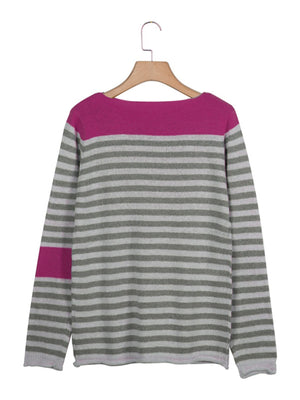 Round Neck Stripes Long Sleeve Sweater