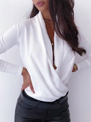 Long-sleeved Solid Color V-neck T-shirt