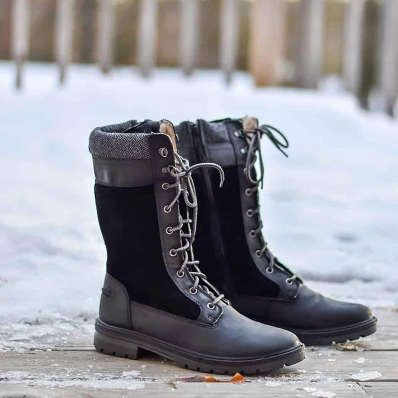 Casual Lace Up Mid-calf Warm Boots