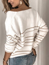 Women Casual V Neck Striped Sweater