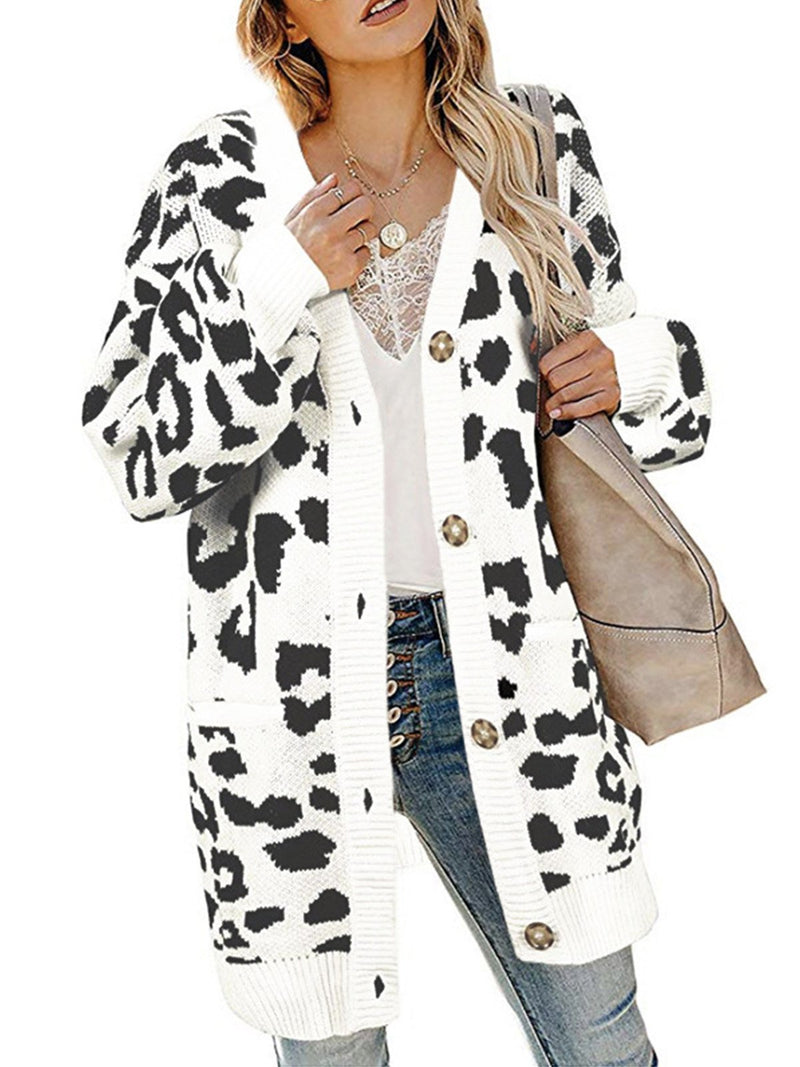 Autumn/Winter Leopard Print Button-Down Long Cardigan Coat