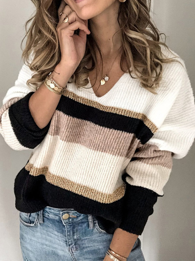 Long-sleeved Striped Sweater with V-neck