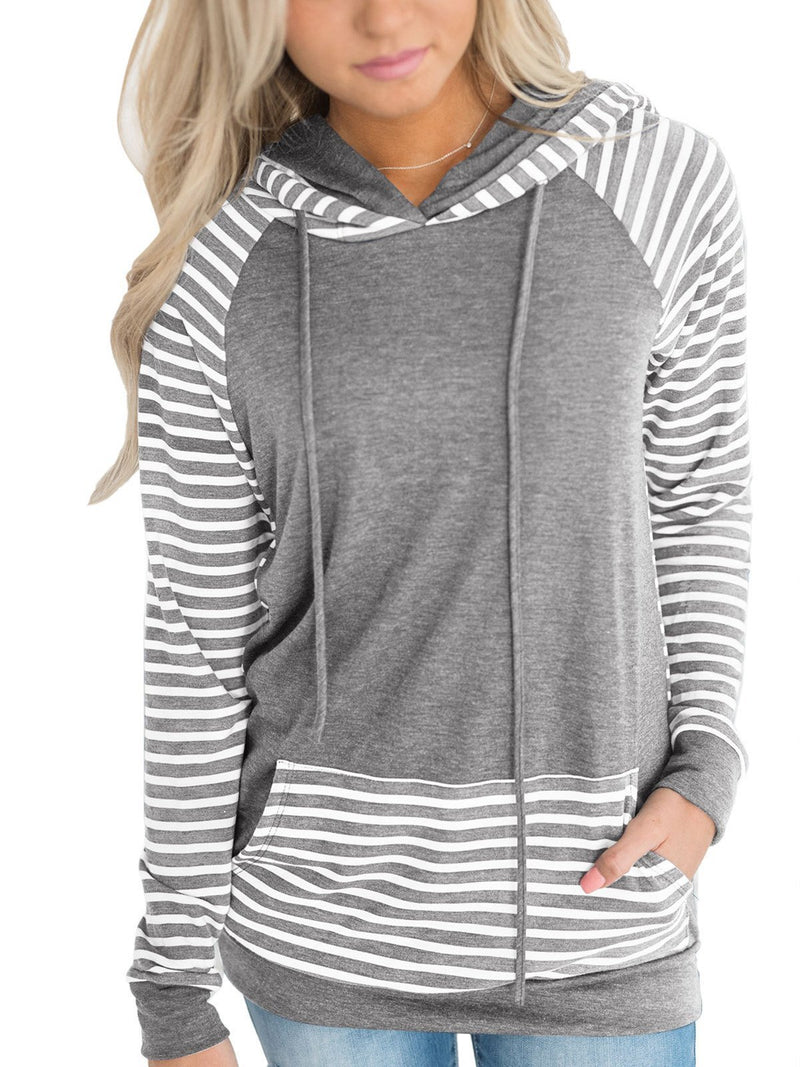 Stripe Long Sleeve Hoodies