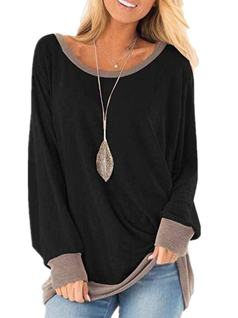 Solid Contrast Color Trim Round Neck Loose T-Shirt