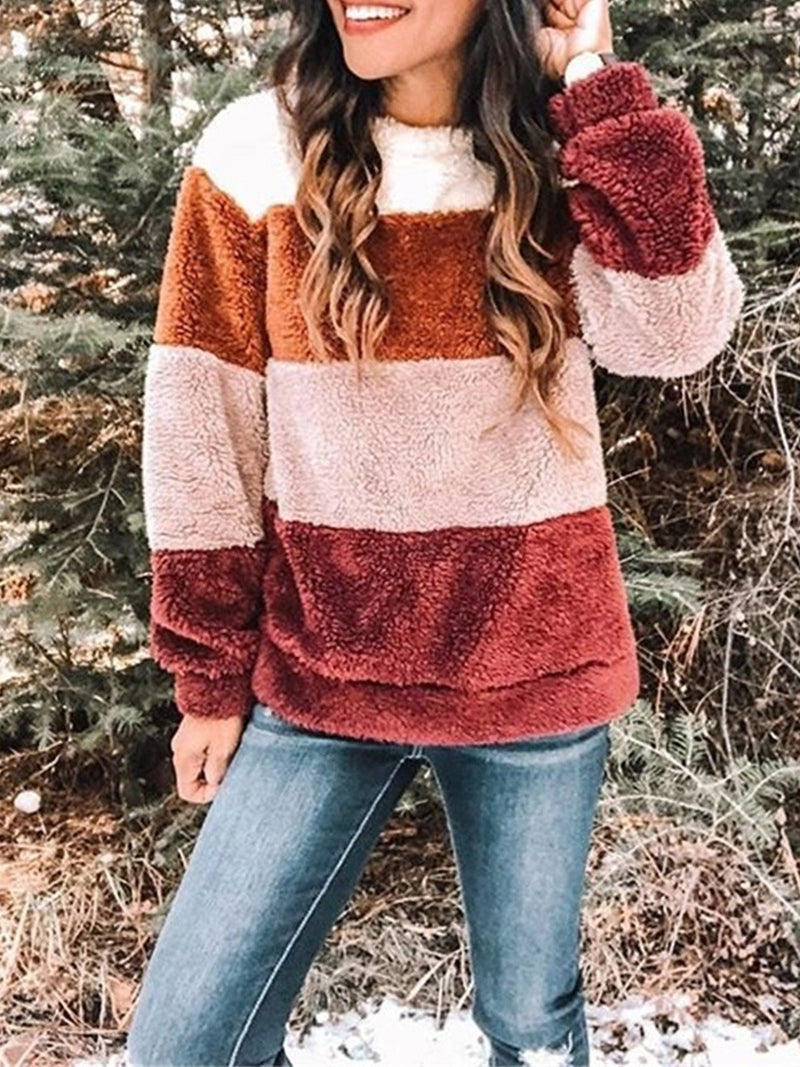 Color Collision Plush Round Neck Loose Blouse