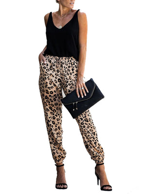 Fashion Drawstring Casual Leopard Pants
