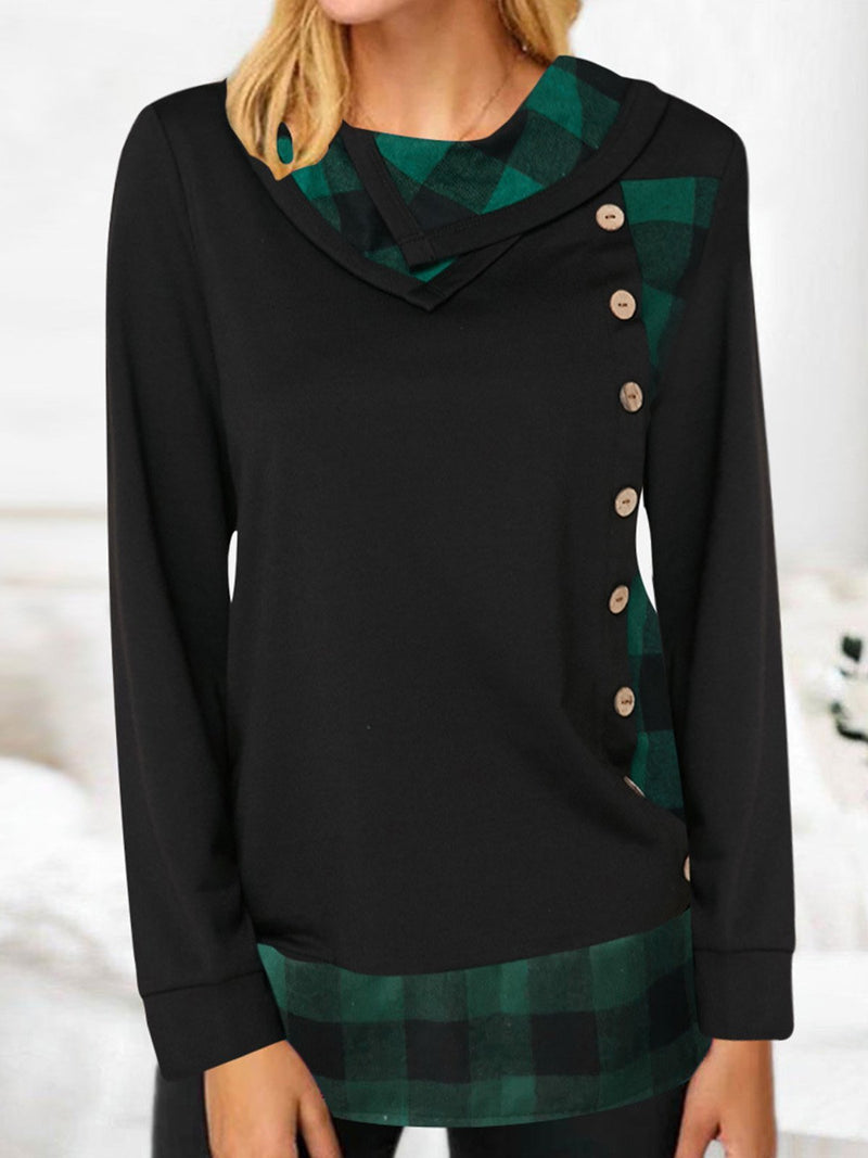 Long-sleeved T-shirt with Checked Seams