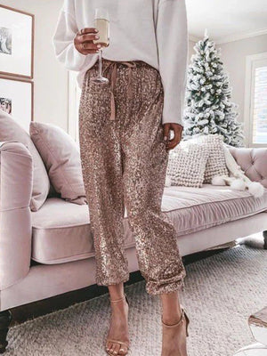 High Waist Drawstring Sequin Pants