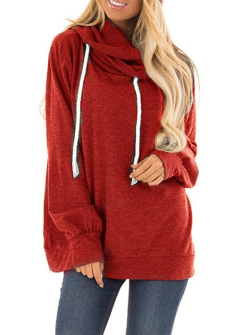 Solid Drawstring Neckline Cowl Neck Loose Sweatshirt
