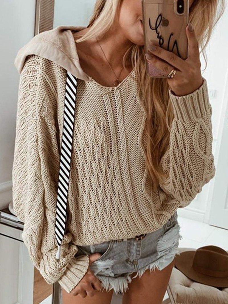 Khaki Hooded Neck Drawstring Neckline Casual Sweater
